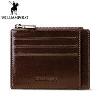 WILLIAMPOLO Geschäfts Reißverschluss Münzfach Kreditkartenetui Männer Kartenhalter Aus Echtem Leder Luxury Brand Reales Leder Geldbörse Tasche