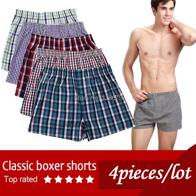 Cheap!!!!  Classic Plaid Men boxer Shorts mens underwear trunks Cotton Cuecas Underwear boxers for male Mix Color 4 Pieces/Lot