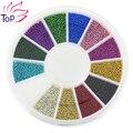 Ногтей 12 цвет стали бусины стойки для ногтей металл икра дизайн колеса прелести 3D украшения ногтей поставки ZP206