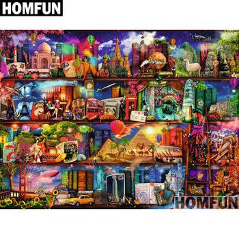 HOMFUN Full Square/Round Drill 5D DIY Diamond Painting Country scenery 3D Embroidery Cross Stitch 5D Home Decor A01000 dispaint full square round drill 5d diy diamond painting teacup bird scenery 3d embroidery cross stitch 5d home decor a18408