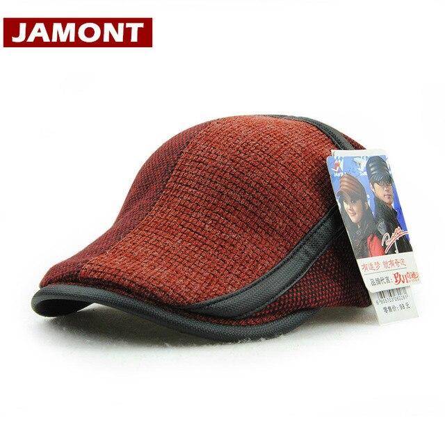 [JAMONT] Chapéus de Inverno da marca para Os Homens Boinas Viseiras Cap Patchwork Quente Gorras Chapéu Viseira malha Tampas de Inverno Estilo Inglaterra dos homens