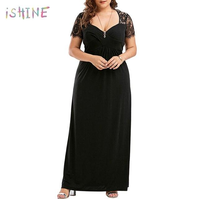 862507b661 Plus Size 5XL Women Maxi Long Sexy Ruched Twist High Waist Lace Dress  Patchwork Party Dresses Short Sleeve Piecing Vestidos