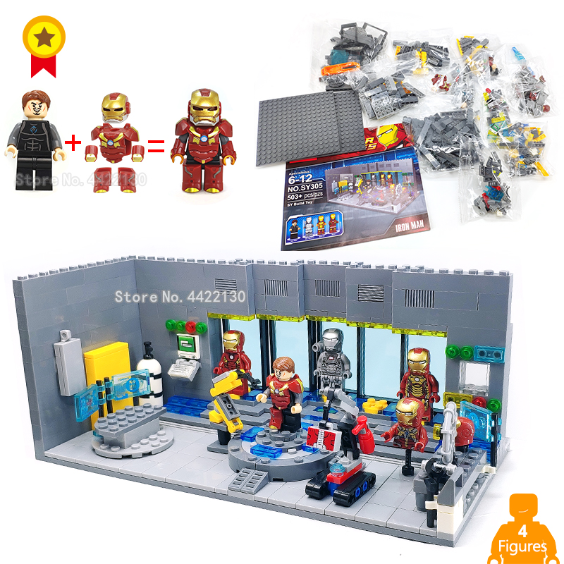 Marvel Iron Man Base Lab Jarvis develops the latest steel armor figures Building blocks compatible legoinglys Super hero classic batman robin base cave rescue poisonous female figures weapom compatible legoinglys super hero building blocks gift