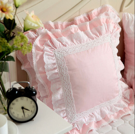 Luxury white pink lace edge ruffle square cushion case,45x45xm 50x50cm 60x60cm 100%cotton,french princess pillow cover for bed