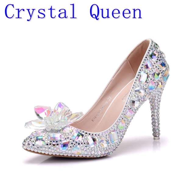 Crystal Quee Cinderella Glass Slipper With Money Pointed High-Heeled Fine  With Rhinestone Sequins Glass Bridesmaid Wedding Shoes e66241bb0fcb