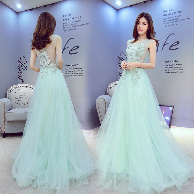 Pale Blue Embroidery   Prom     Dress   Fashion Elegant Tulle Beaded Flowers Appliques Women Formal   Dress   vestido de noiva