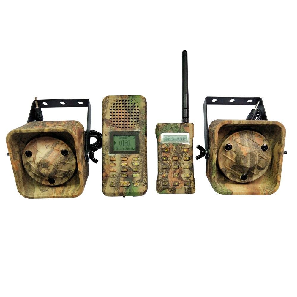 Camuflaje pájaro llamador Control remoto 2 piezas 50 W 150dB altavoz alto pájaros MP3 jugador amplificador ganso pato caza señuelo