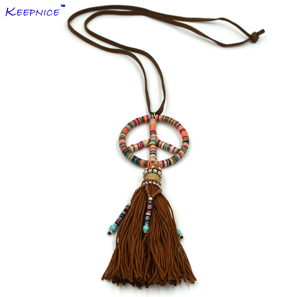 New handmade cotton tassel beaded peace symbols pendents necklace boho Bohemia statement Maxi Necklaces for sea beach