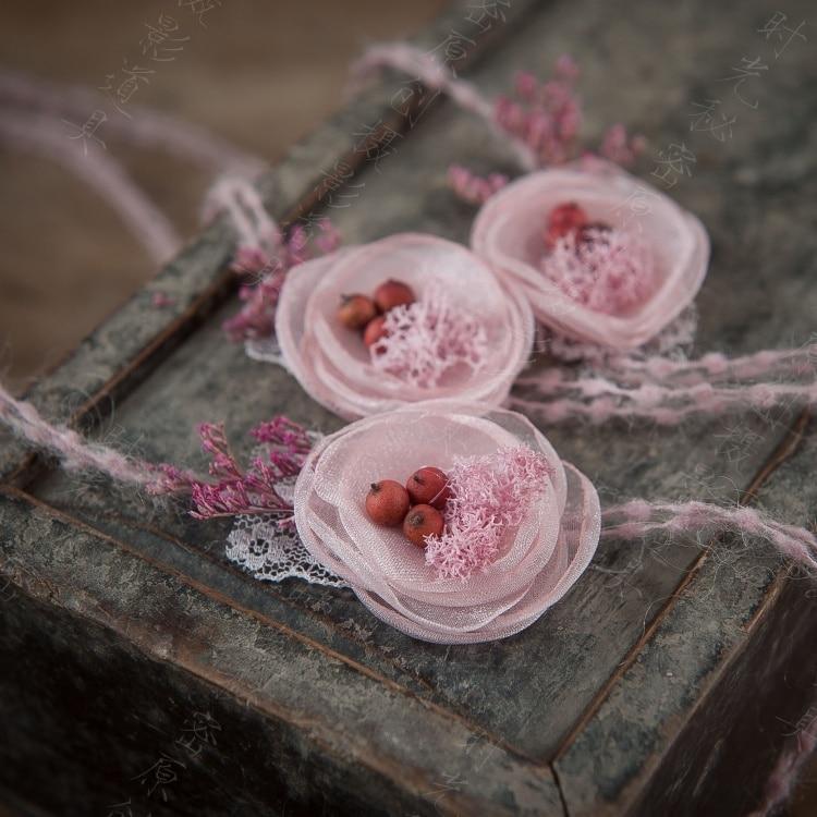 Original baby 100 days children pink handmade flowers berry plant photography prop headband girl headwear