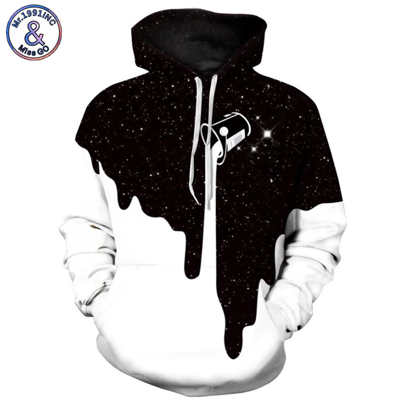 Mr.1991INC 2018 new starry sky milk cup printing 3d Sweatshirts Men hoodie sweatshirt Casual Hooded Pullovers Men Hoodies M154