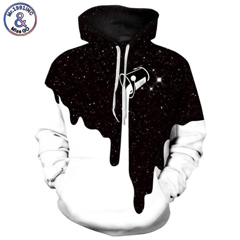 Mr.1991INC 2018 new starry sky milk cup printing 3d Sweatshirts Men hoodie sweatshirt Casual Hooded Pullovers Men Hoodies M154