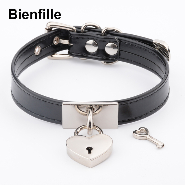 628f4717a43ca US $9.09 35% OFF|Fashion Wholesale Choker Womens Silver Gold Metal Love  Heart PadLock Collares Mens Necklace Gothic Punk Buckle BDSM Choker-in  Choker ...