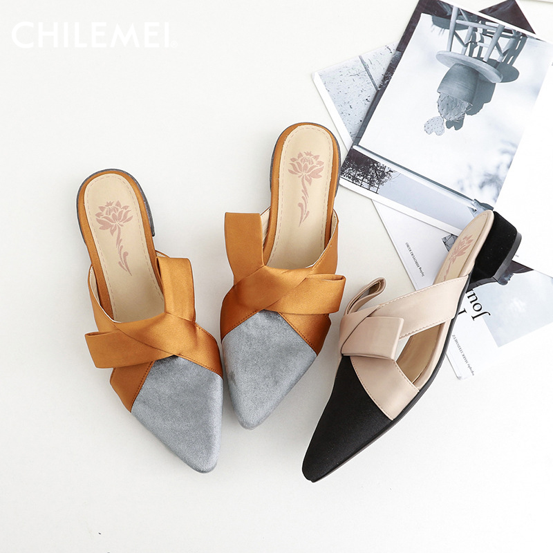 2018 Spring Summer Retro Sweet Riband Bowtie Flat Pointed Toe Thick Heel Mules Shoes Women Flat Slippers Female Slides Fashion cresfimix women cute spring summer slip on flat shoes with pearl female casual street flats lady fashion pointed toe shoes