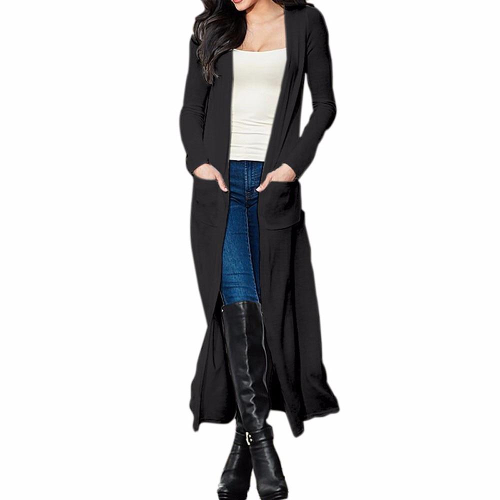 Women Autumn Spring Casual Coats Ladies Long Sleeve Solid Slim Long Cardigan Party Casual Coat Female Open stitch kimono Coats
