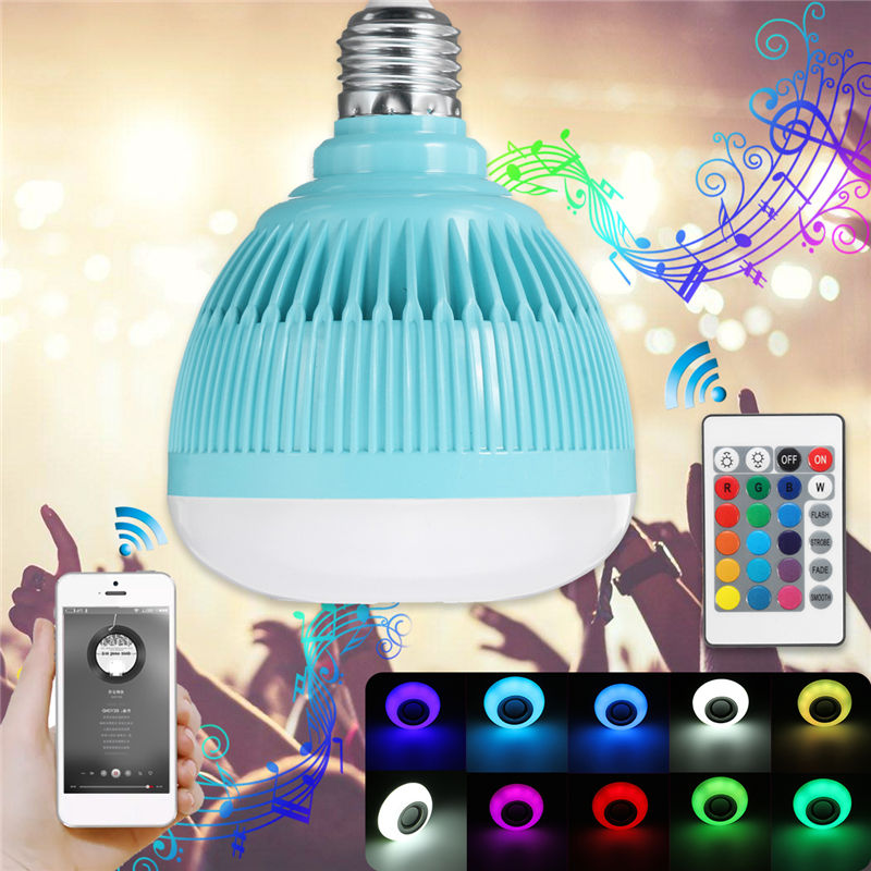 12W E27 Smart RGBW LED Light Bulb Wireless Bluetooth Speaker Bulb Dimmable Music Playing Lamp with Remote Control AC100-240V szyoumy smart rgbw wireless bluetooth speaker bulb music playing dimmable 12w e27 led bulb light lamp with 24 key remote control