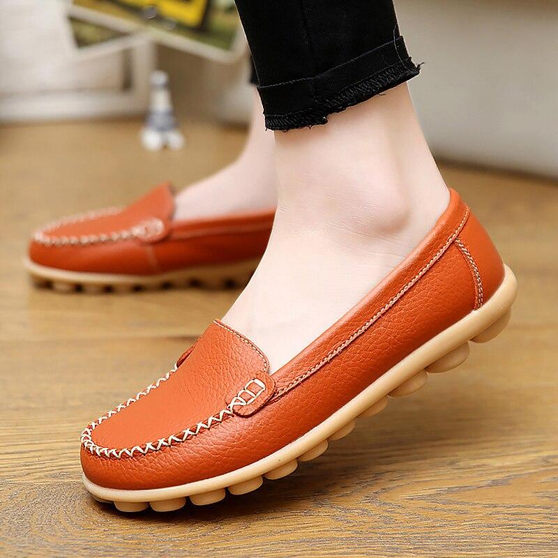 Для женщин обувь на плоской подошве Лоферы натуральная кожа новый стиль с круглым носком туфли Весна/осень Дамская обувь Большие размеры 35-44