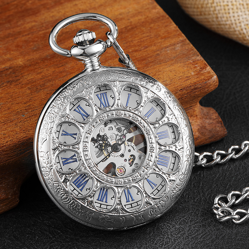 Unique Silver Hollow Skeleton Mechanical Pocket Watch With Waist Chain Elegant Carving Retro Fashion Mens Womens Pocket Watches