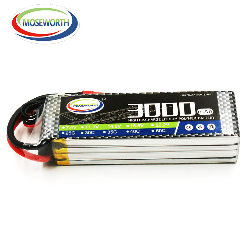 MOSEWORTH RC Lipo Battery 14.8v 4S 25C 3000mAh For RC Aircraft Car Drones Boat Quadcopter Helicopter Airplane Li-ion Battery 4S 1s 2s 3s 4s 5s 6s 7s 8s lipo battery balance connector for rc model battery esc