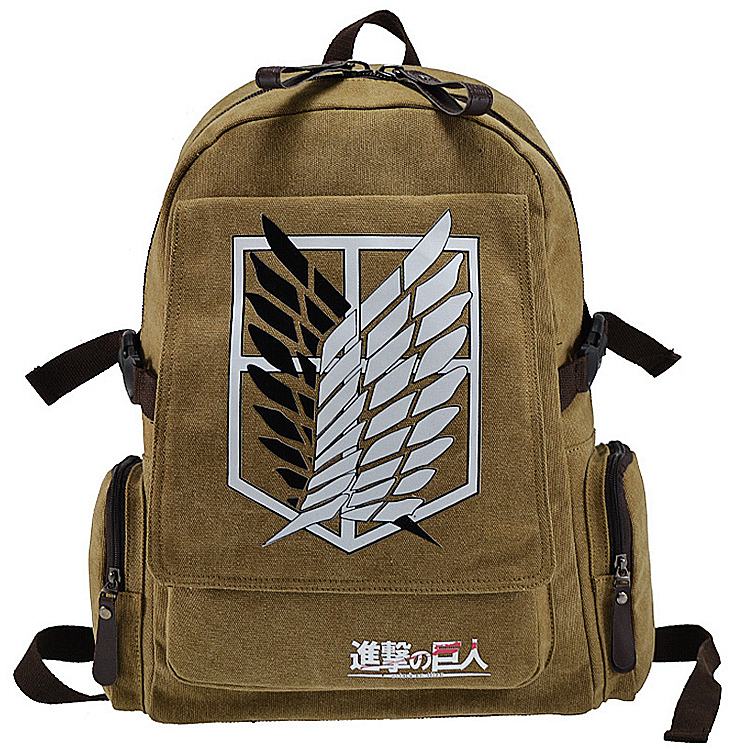 Hot selling canvas famous cartoon Investigation Corps dollar price teenagers attack on titan messenger mochila school backpack