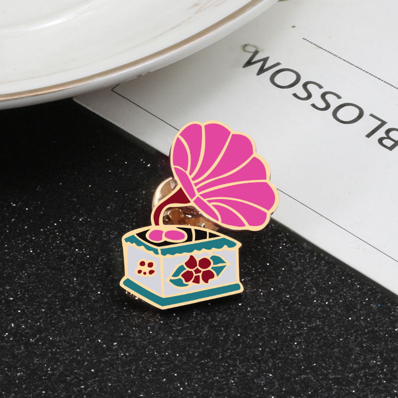 ALI shop ...  ... 32944245788 ... 4 ... Vintage Pink Phonograph Tai Chi Enamel Pins Milk Star OMG Brooch for Women Jackets Lapel Button Badge Pin Fashion Jewelry Gift ...