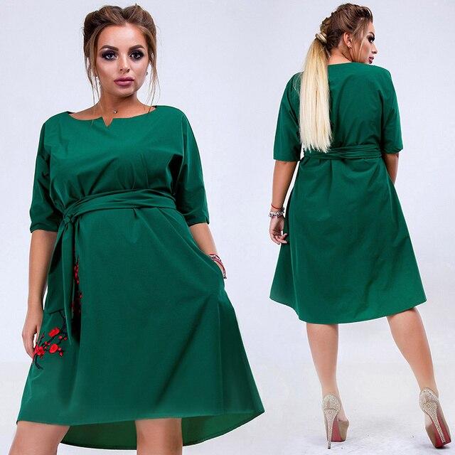 2018 New Designer Women Dress Casual Straight Summer Dress Oversized