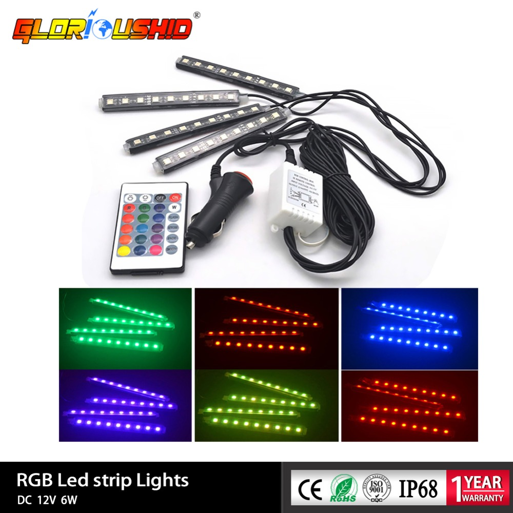12 V Auto Innen licht RGB LED Streifen Lichter Farben Auto Styling Dekorative Atmosphäre Boden Lampen mit Wireless Fernbedienung
