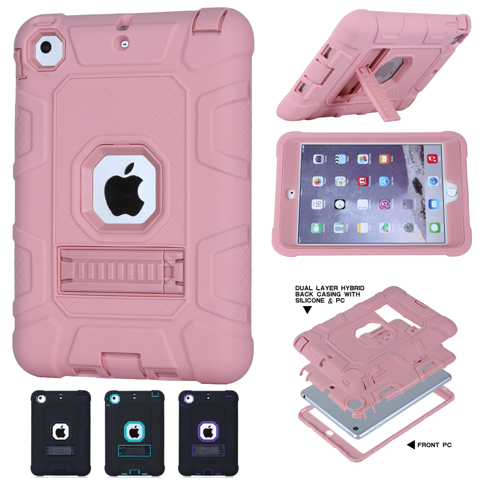 For Coque iPad Mini Case 3 in 1 Hybrid High Impact Heavy Duty Hard Rugged Rubber Case Cover for iPad Mini 3 2 1 with Holder