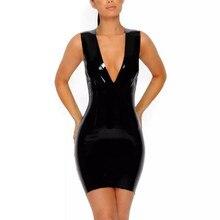 Kim Kardashian Vinyl Dress 2017 New Women V Sheath  Leather Bodycon Black Sexy Party Dresses Mini Short Evening