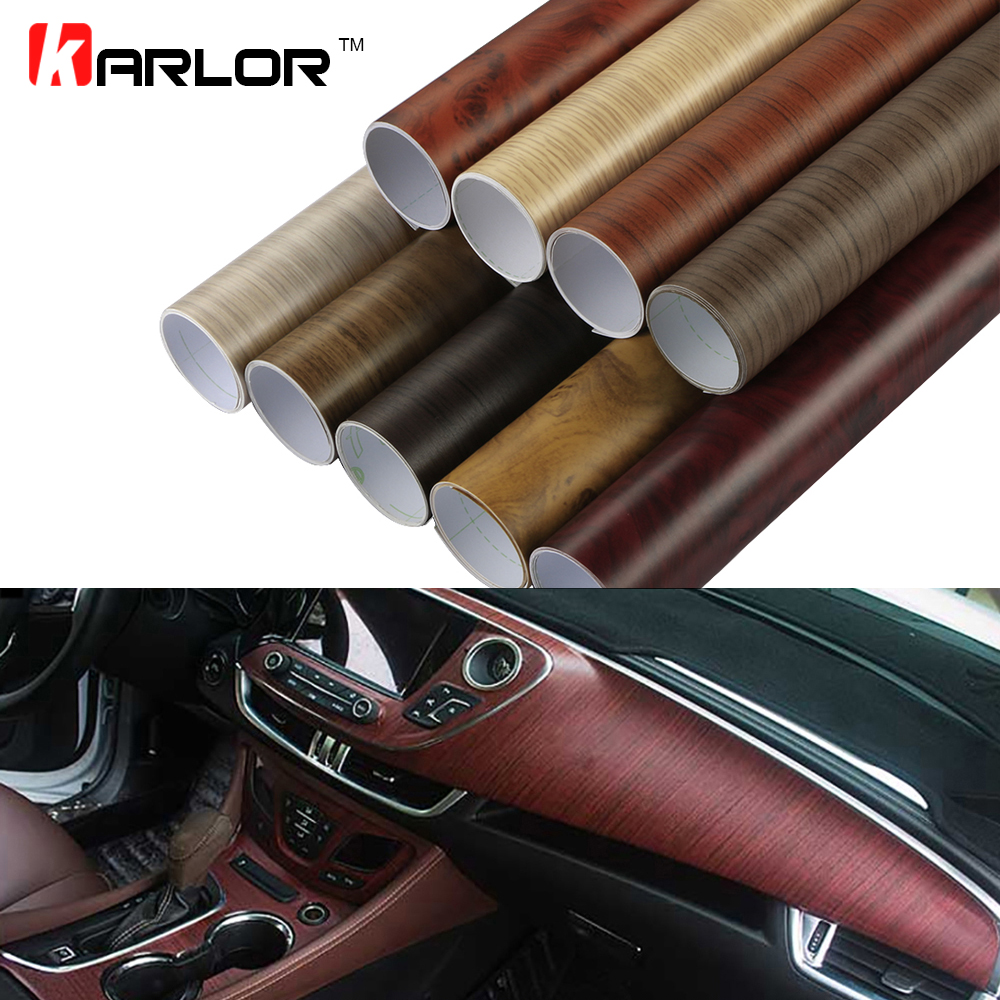 60x500cm Matte Self adhesive Wood Grain Textured Vinyl Film Car Wrap PVC Waterproof Auto Internal Decoration Car Sticker Styling