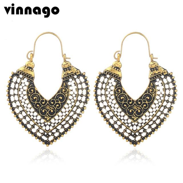 Antique Gold Silver Color Ethnic Earrings Vintage Hoop Boho Filigree Tribal For Women