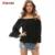 2016 Moda Sexy Solto Preto de Mangas Compridas Chiffon Tops Blusa Plus Size Mulheres Verão Strapless Cor Sólida Camis Camisa Cinto