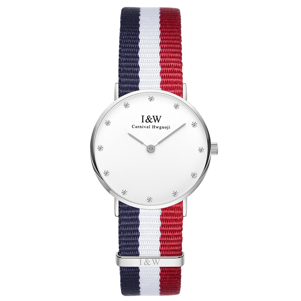 IW D8758L-2 women's Quartz-Watch fabric Classic Canterbury Stainless Steel Watch With Multi-Color Striped Band