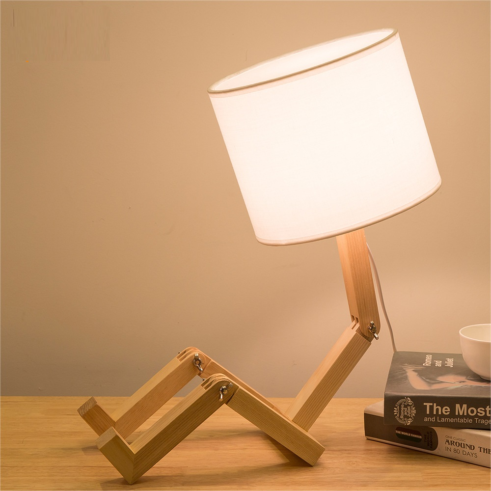Us 48 13 8 Off Lukloy Modern Minimalist Table Lamp Nordic Creative Personality Cartoon Warm Folding Bedroom Beside Small Solid Wood In