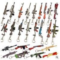 HSIC 25 Styles Wholesale Mixed Battle Royale Keychain 3D Gun Model 12cm Pendant Weapon Keyring Holder Chaveiro Men Jewelry