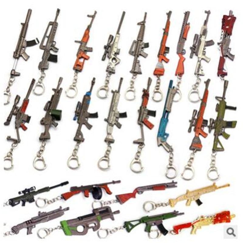 HSIC 25 Styles en gros mixte bataille Royale porte-clés 3D pistolet modèle 12cm pendentif arme porte-clés porte Chaveiro hommes bijoux