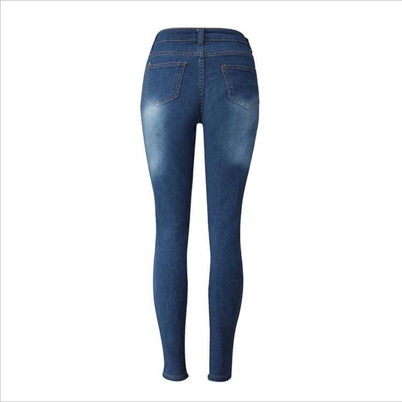 4198d3af79 2017 la última Moda mujer Delgada Pantalones Bule Algodón Elástico Mediados  de Cintura de Jeans Rasgados Agujero Vaqueros Flacos Pantalones Tamaño S  XXL en ...