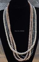 AA 28 Long 8mm Freshwater Pearl Necklace WHITE PINK PURPLE BLACK Free Shipping