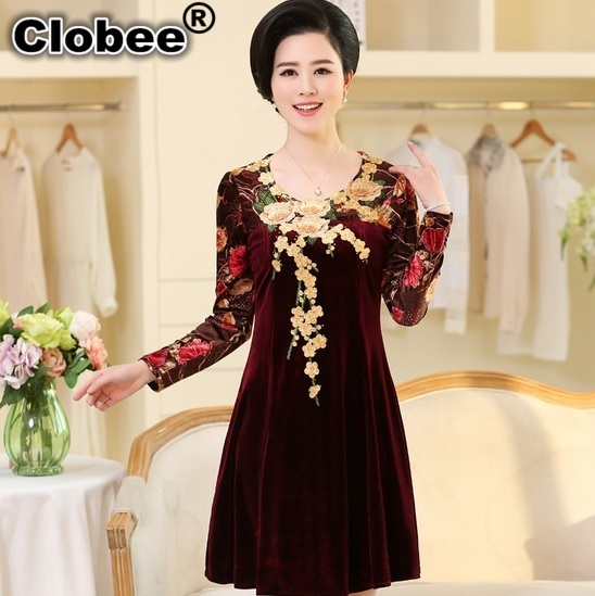 2017 New autumn women Gold velvet plus size women clothing vestido de festa  Cheap Clothing lady office party night dresses WA28-in Dresses from Women s  ... c487165ad1ae