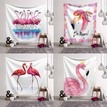 Tropical Paradise Flamingo Tapestry Wall Hanging Blanket Pink Bohemian Beach Towel Polyester Yoga Sunbathing Cover Wall Decor(China)