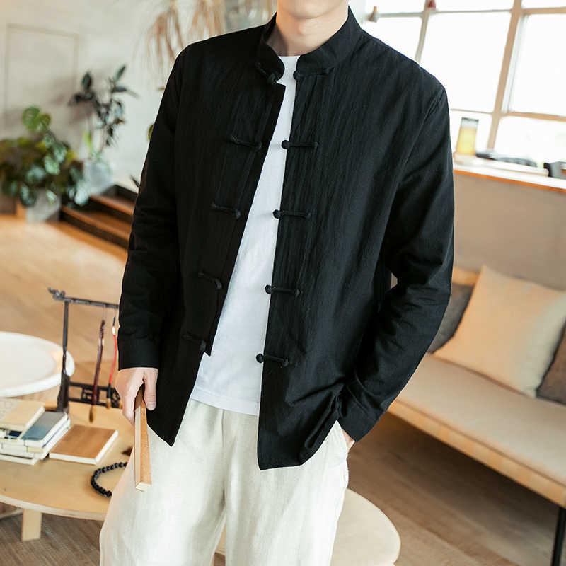 Primavera 2019 nueva Camisa de hombre vestido de estilo chino slim fit Camisa de manga larga Camisa de oficina social collar chino