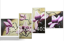 4pc MODERN ABSTRACT HUGE WALL ART OIL PAINTING ON CANVAS purple flower no frame  free shipping