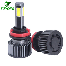 TUYOFO Car LED headlight 360 degree lighting 4 sides seoul COB chips Canbus 12000Lm h1 h7 h4 h11 hb3 hb4 Three color DRY Headlam