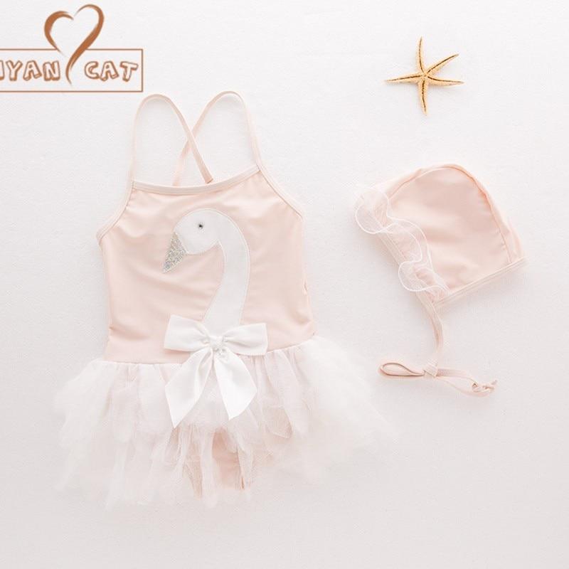 New Siamese Baby Girl Swimwear Infant Toddler Kids Childrens Swan Applique Swimwear Hat 2PCS Set Beach Baby Swimwear Animal