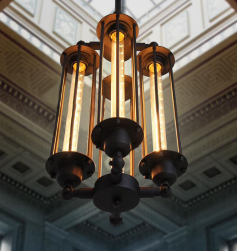 94be20f398d6 DIY RARE Loft Punk Métal Pandent Lumière du Luminaire Déco Salon Vintage  Personnalisé Industrielle Pendentif Lampe E27 T30 Edison ampoule