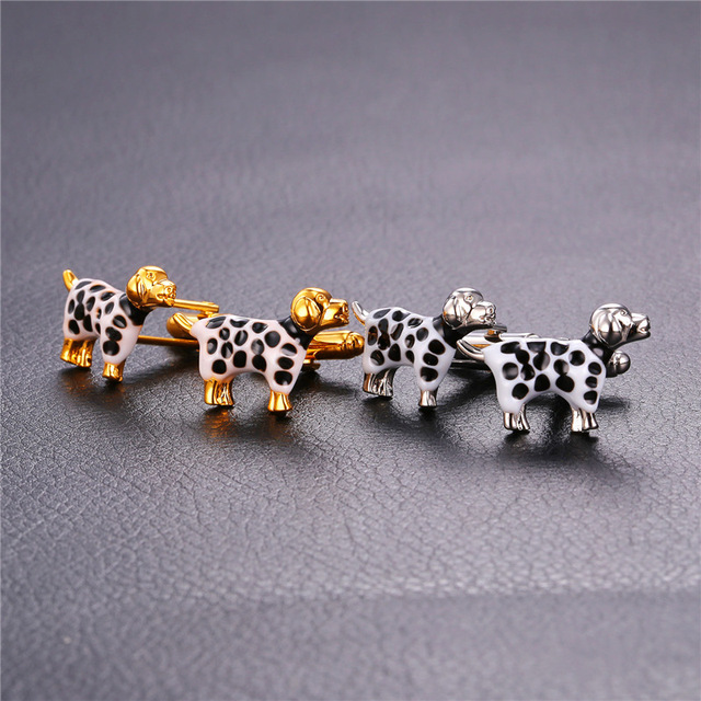 Collare dalmatiens boutons de manchette pour hommes couleur or/argent blanc et noir chien boutons de manchette haute qualité bijoux en gros C148