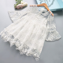 цена на Summer Girl Luxury Clothes Kids Dresses For Girls Lace Flower Dress Baby Girl Party Wedding Dress Children Girl Princess Dress