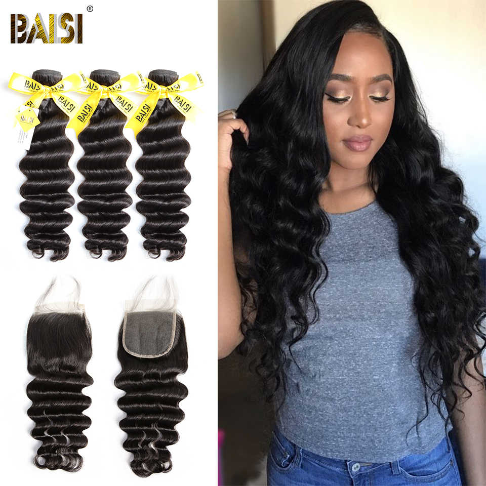 BAISI Hair Peruvian Virgin Hair Weave Natural Wave 3 Bundles Hair with Lace Closure for Black Women