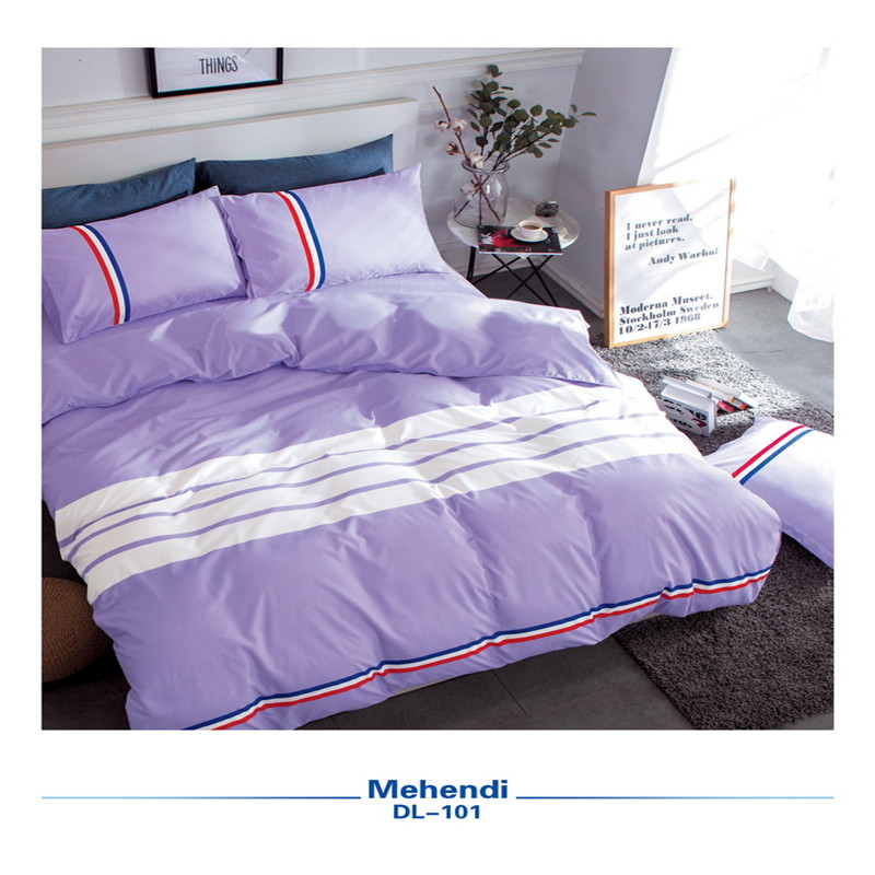 Stylish Purple Color Pure White Stripes Bedding 4 PCS Duvet Cover+Bed Sheet+Pillowcases And Comfortable Super Soft Home Textile
