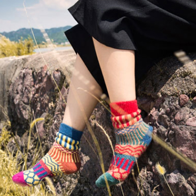 5pair Winter Ethnic Style Women's Geometric Pattern Contrast Color Socks Vintage Thicken Warm Wool Sock Harajuku Skateboard Sock
