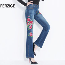e9ae29c861 Jeans Women 2018 High Waist Korean Style Flared Jeans Flowers Embroidered Stretch  Denim Pants Large Size Women's Clothing Femme